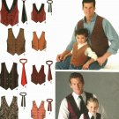 Simplicity 4762 Pattern uncut Boys S M L Men S M L XL Tie and Vest