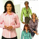 Butterick B4609 Pattern uncut 8 10 12 14 Long Sleeve Shirt Shaped Hem opt. French Cuffs