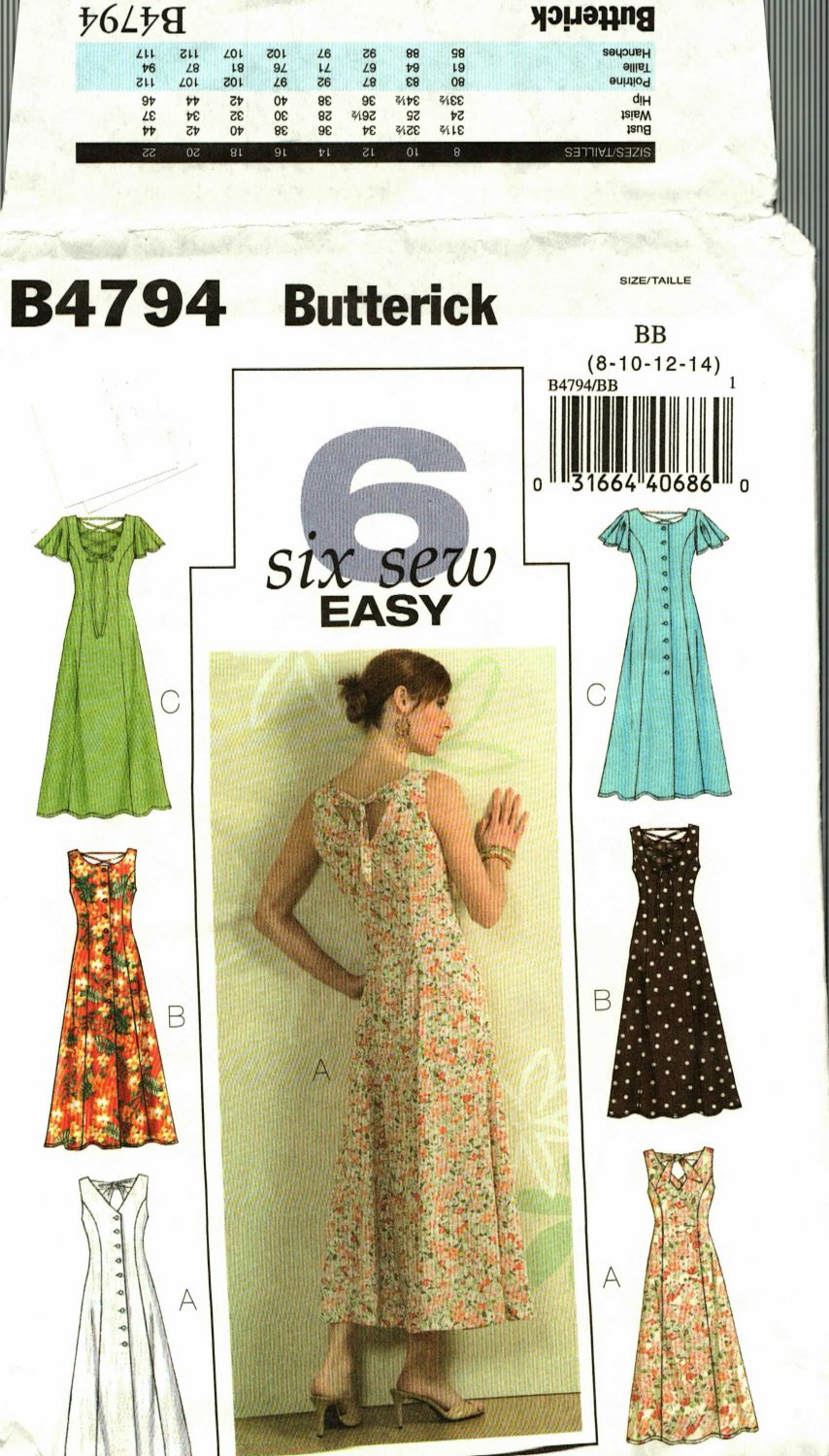 Butterick B4794 Pattern uncut 8 10 12 14 Sun Dress Lace Up Back Sleeveless Flutter Sleeves