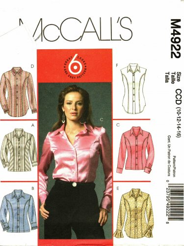 McCall's M4922 Pattern uncut 10 12 14 16 Semi Fitted Shirts Princess Seams Sleeve Variations