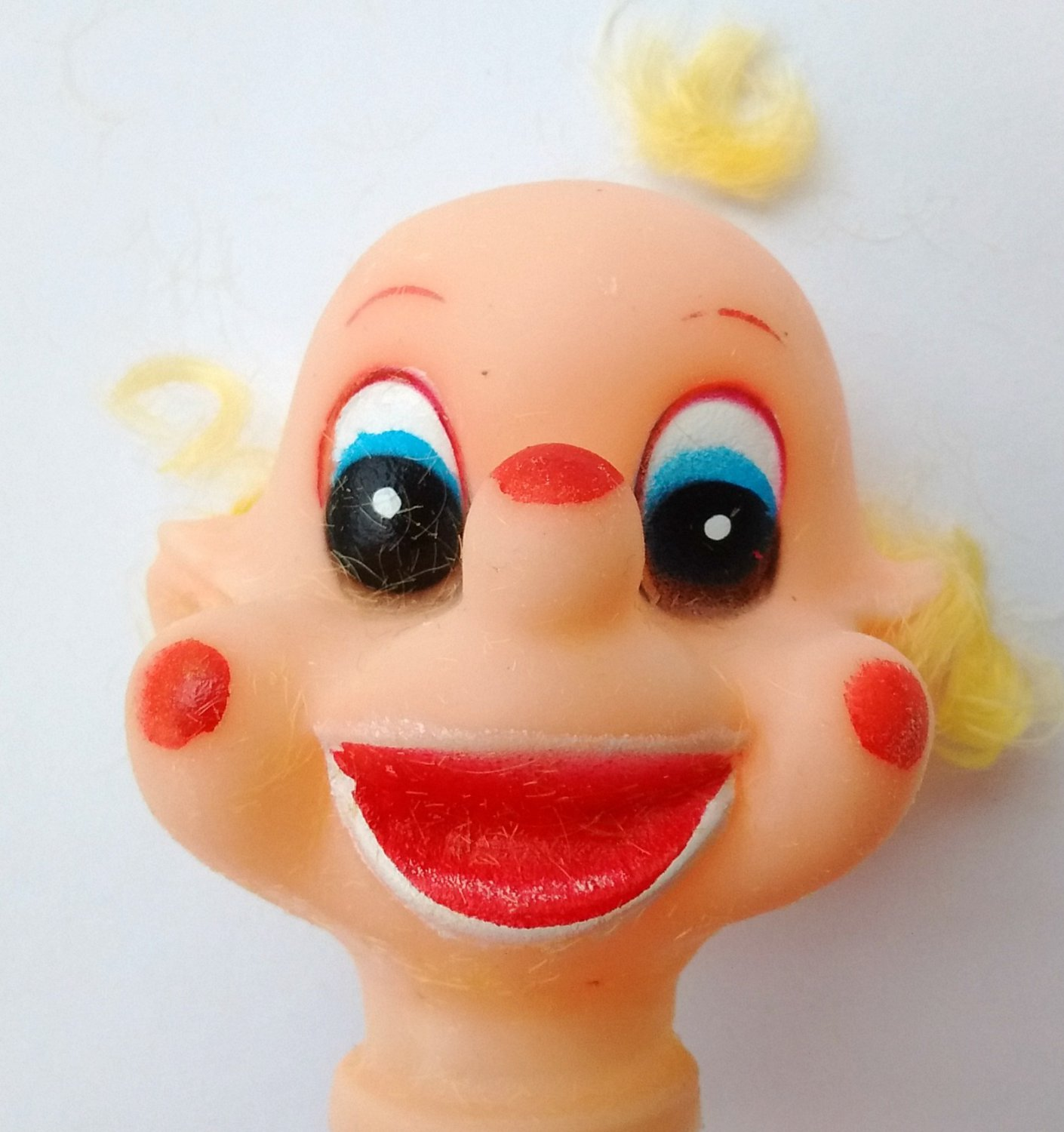 Terrifying Vinyl Doll Head Caucasian for Clown Elf or some other horror New, Old Stock 1970s