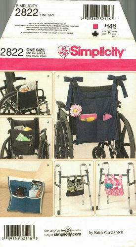 Simplicity 2822 Pattern uncut Organizers Accessories for Wheelchair Walker Lounge Chair