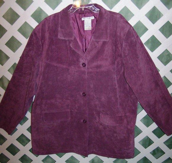 Jessica Holbrook Leather Suede Jacket Coat 3X Lavender-New