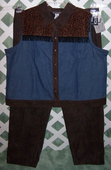 Stonebridge Leopard Denim Skirt Pants Vest 2X 24W NWT
