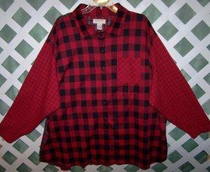 Bechamel II Red Plaid Cotton Shirt Size 3X