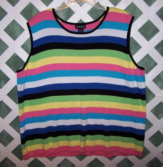 Womens Hampshire Studio Multi Color Stripe 2 Piece Size 3X