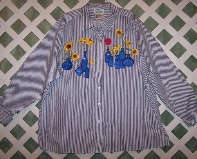Quacker Factory Navy Stripe Button Up flower Design Shirt Size 3X