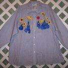 Quacker Factory Navy Stripe Button Up flower Design Shirt Size 3X