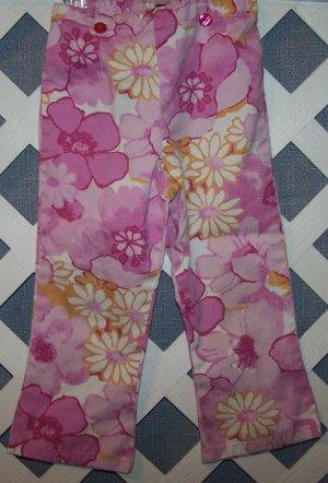 Girls Pink Flower Baby LuLu Pants Size 4T