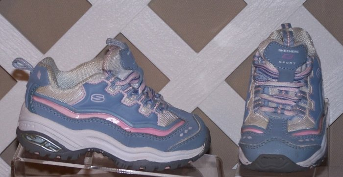 Girls Pink and Blue Skechers Size 6