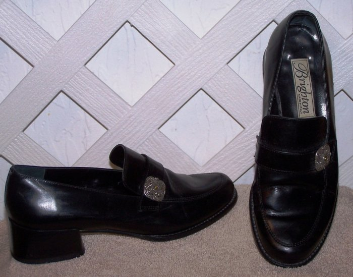Women�s Sz 6.5 Black Leather Brighton Dress Shoes Size 6 ½