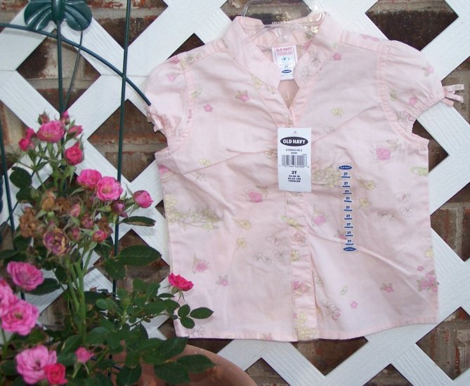 Girls Old Navy Shirt 2T Butterfly & Flower Top NEW BTS