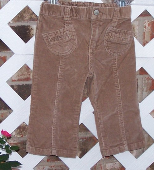 Girls Old Navy Brown Corduroy Pants 12-18 Months BTS Cute!