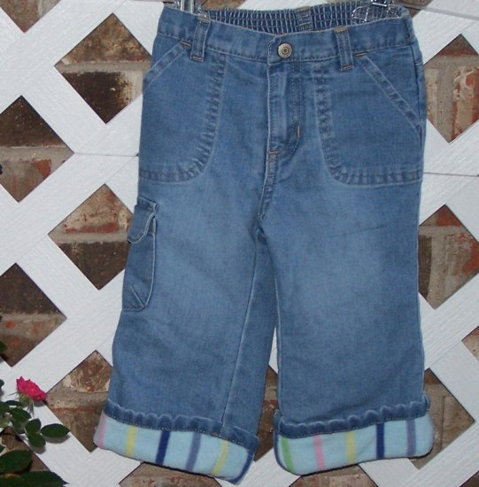 Girls Fleece Lined Old Navy Jeans 12-18 Months BTS Cute!