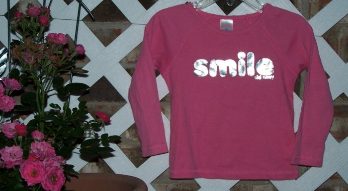 Girls Old Navy Pink SMILE Shirt 18-24 Months BTS Cute!