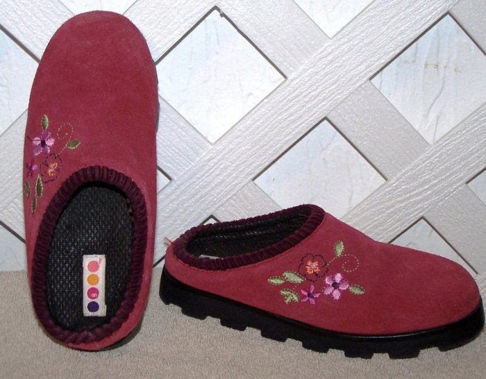 Girls Gymboree Pink Suede Clogs Shoes Size 13