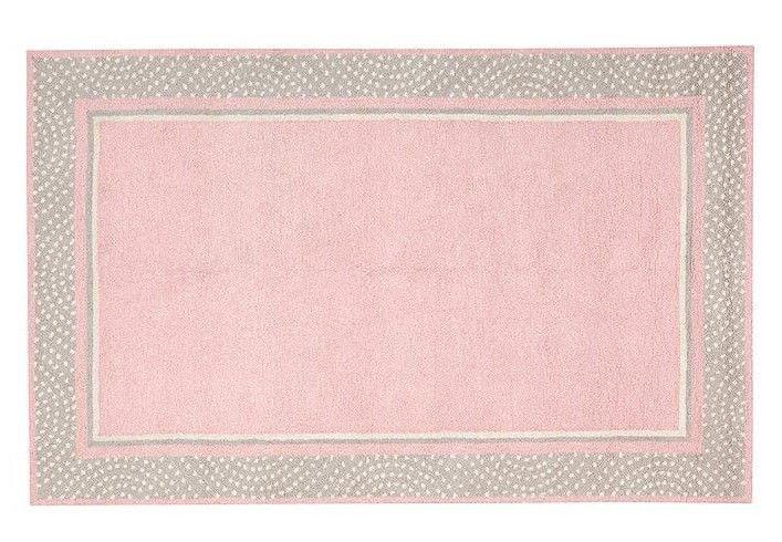 Hand Tufted woolen 5X8 Modern Polka Dot Border  Pink Gray Kids Rug & Carpet