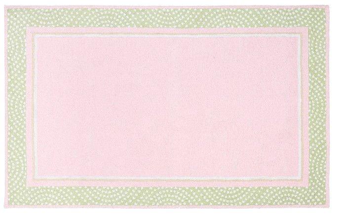 POTTERY BARN Tufted 5X8 Modern Designer - Polka Pink Green Kids Rugs & Carpet
