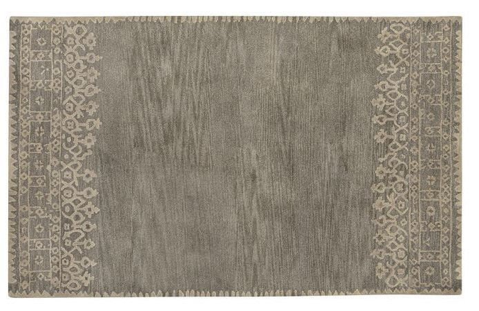 POTTERY BARN NEW Desa Gray Persian Hand Tufted 5X8 Design Wool Carpet Rug