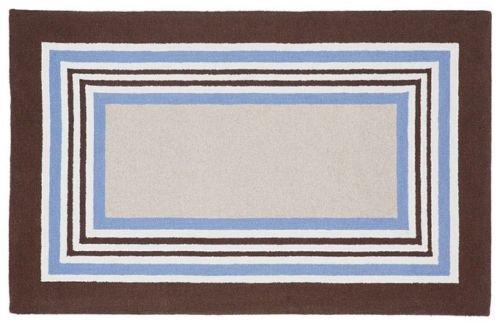 POTTERY BARN Tufted 5X8 Designer Tailored Striped Blue-Brown Kids Rug & Carpet