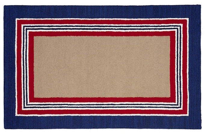 POTTERY BARN Tufted 5X8 Modern Designer Tailored Striped Navy Kids Rug & Carpet