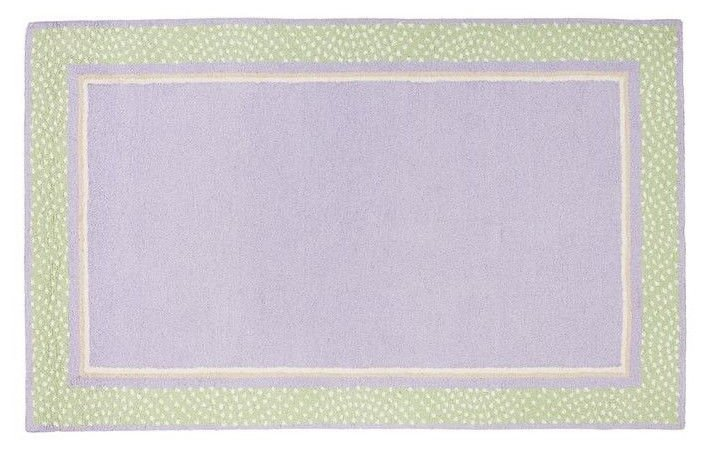 Hand Tufted woolen 5X8 Modern Polka Dot Border  Lavender Green Kids Rug & Carpet