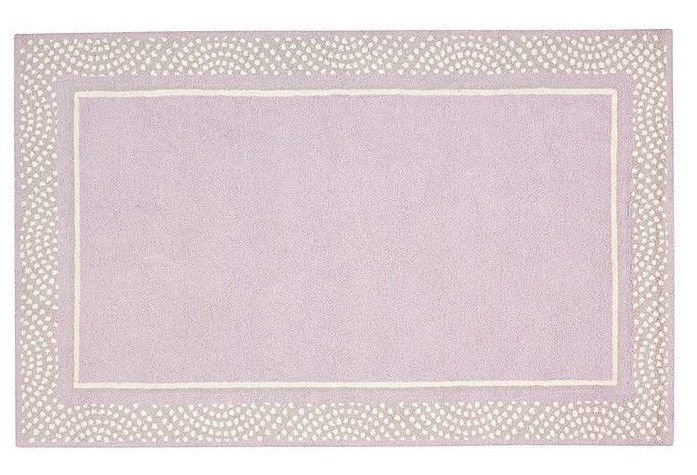 Hand Tufted woolen 8X10 Modern Polka Dot Border  Lavender Gray Kids Rug & Carpet