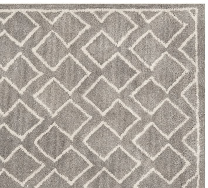 POTTERY BARN NEW Taylor Geo Rug Gray Mist Hand Tufted 5X8 Design Wool Carpet Rug