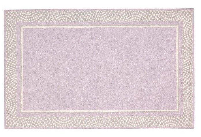 POTTERY BARN woolen 5X8 Modern Polka Dot Border Lavender Gray Kids Rug & Carpet