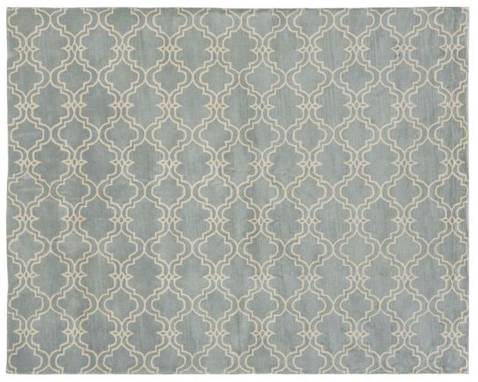 POTTERY BARN Scroll Tile Porcelain Blue Hand Tufted 8X10 Design Wool Carpet Rug