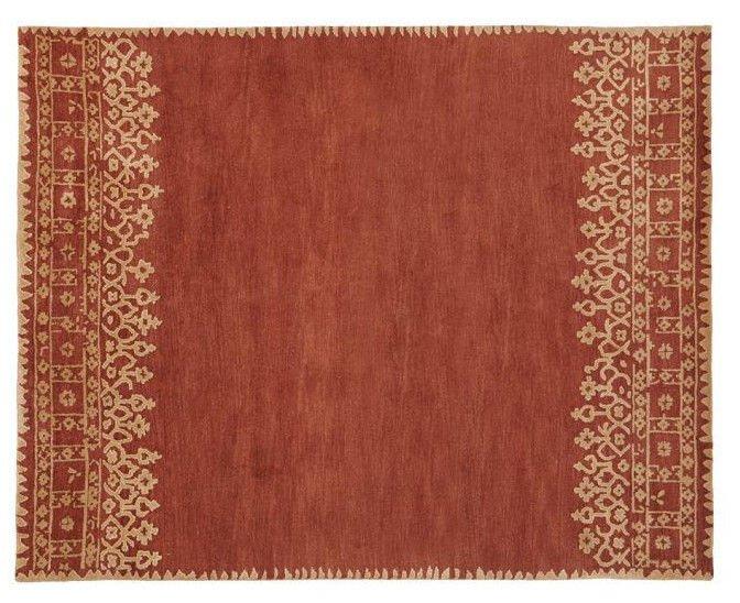 POTTERY Barn Desa Terra  Cota Persian Hand Tufted 2.6X9  Design Wool Carpet Rug