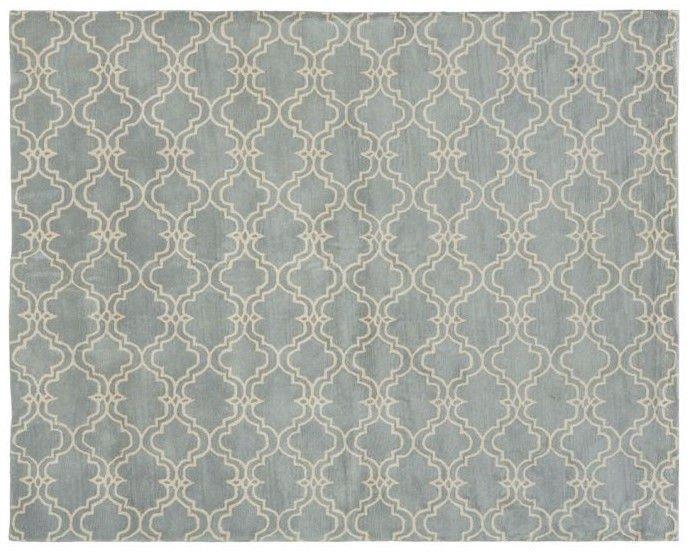 POTTERY BARN Scroll Tile Porcelain Blue Hand Tufted 3X5 Design Wool Carpet Rug