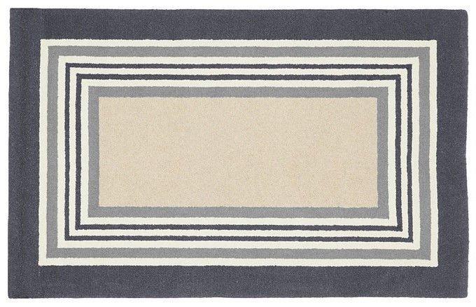 POTTERY BARN Tufted 5X8 Modern Designer Tailored Striped Gray Kids Rug & Carpet