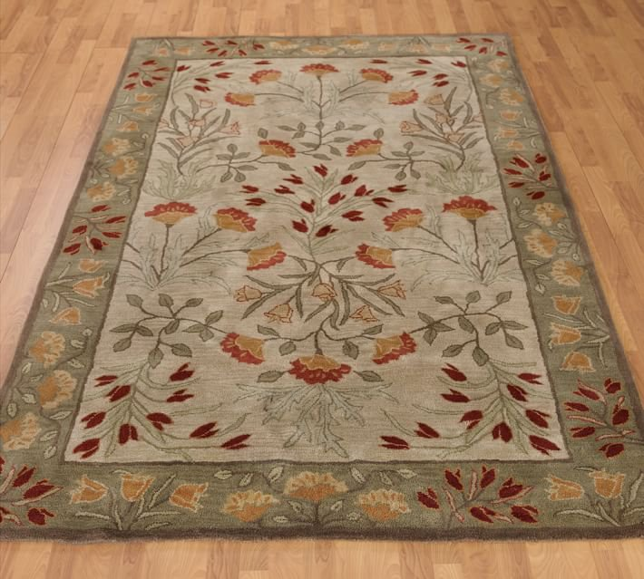 POTTERY BARN NEW Persian Adeline Multi Mist Hand Tufted 5X8 Wool Carpet Rug