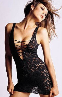 Black lace mini dress sexy lingerie