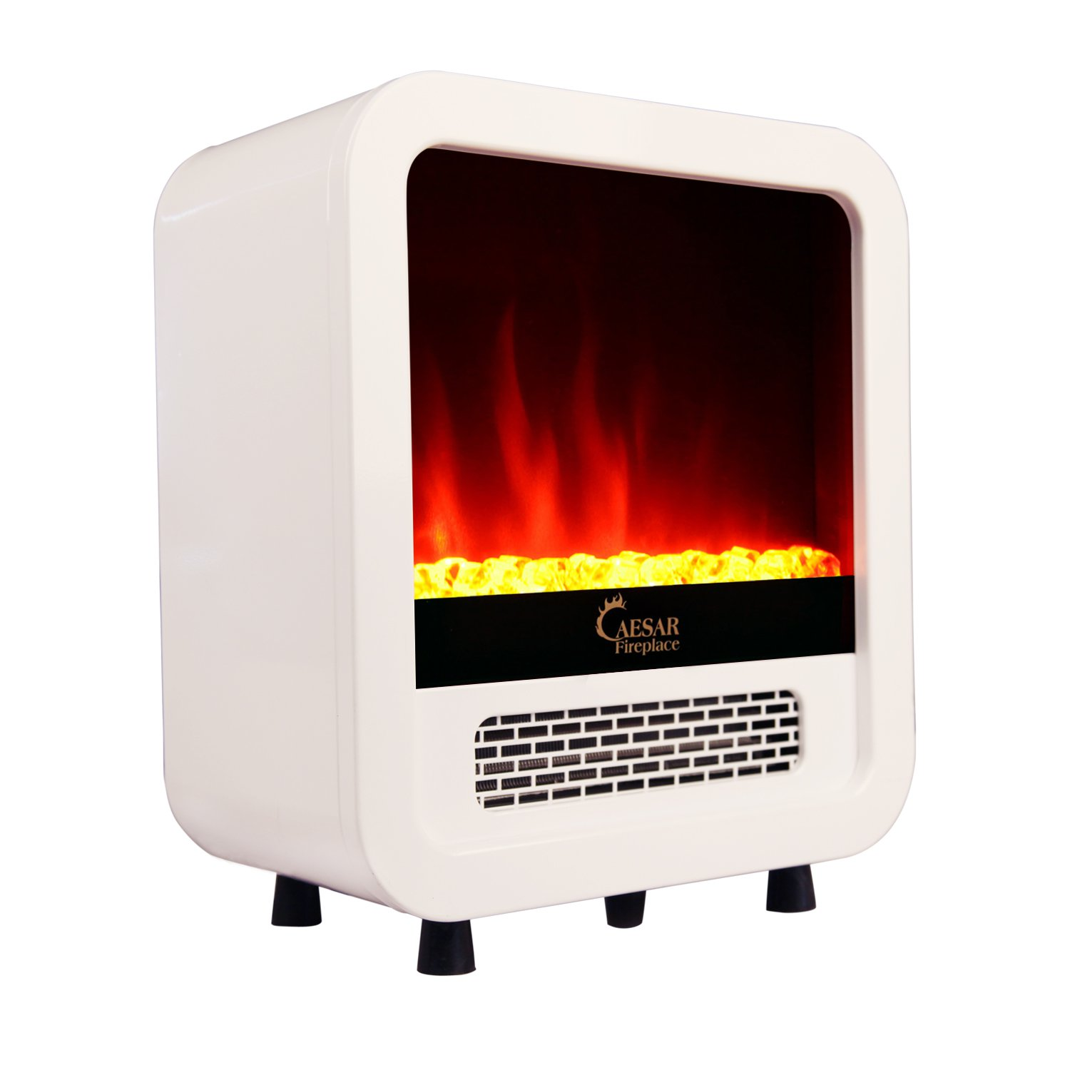 indoor compact freestanding bedroom electric fireplace heater white