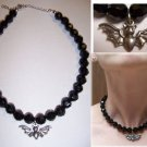 Black Bead Bat Necklace