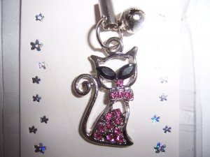 Pink Rhinestone Kitty Cell Phone Stylus Charm