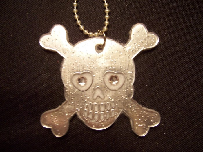 Skull and Crossbones Necklace (White)