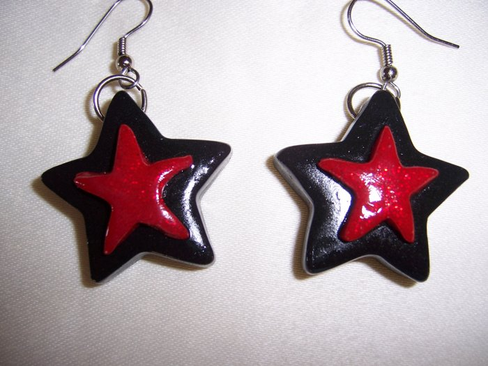 Star Earrings (Black with Red)