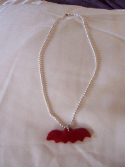 Bat Necklace (Red Glitter)