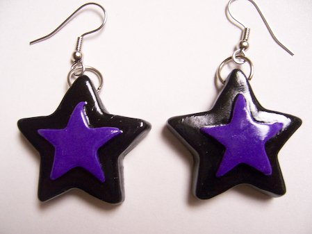 Star Earrings (Black with Purple)