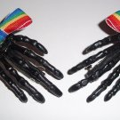 Black Rainbow Bow Skeleton Hand Barrettes