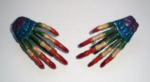 Rainbow Skeleton Hand Barrettes