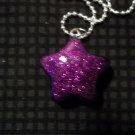 Purple Glitter Star Necklace