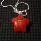 Red Glitter Star Necklace