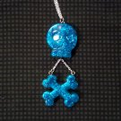 Turquoise Glitter Skull And Crossbones Necklace