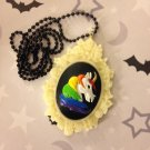 Rainbow Unicorn Cameo Necklace