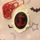 Red and White Anchor Cameo Necklace