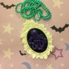 Purple and White Octopus Cameo Necklace